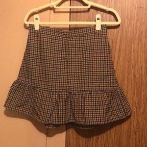 Houndstooth Flounce Mini Skirt